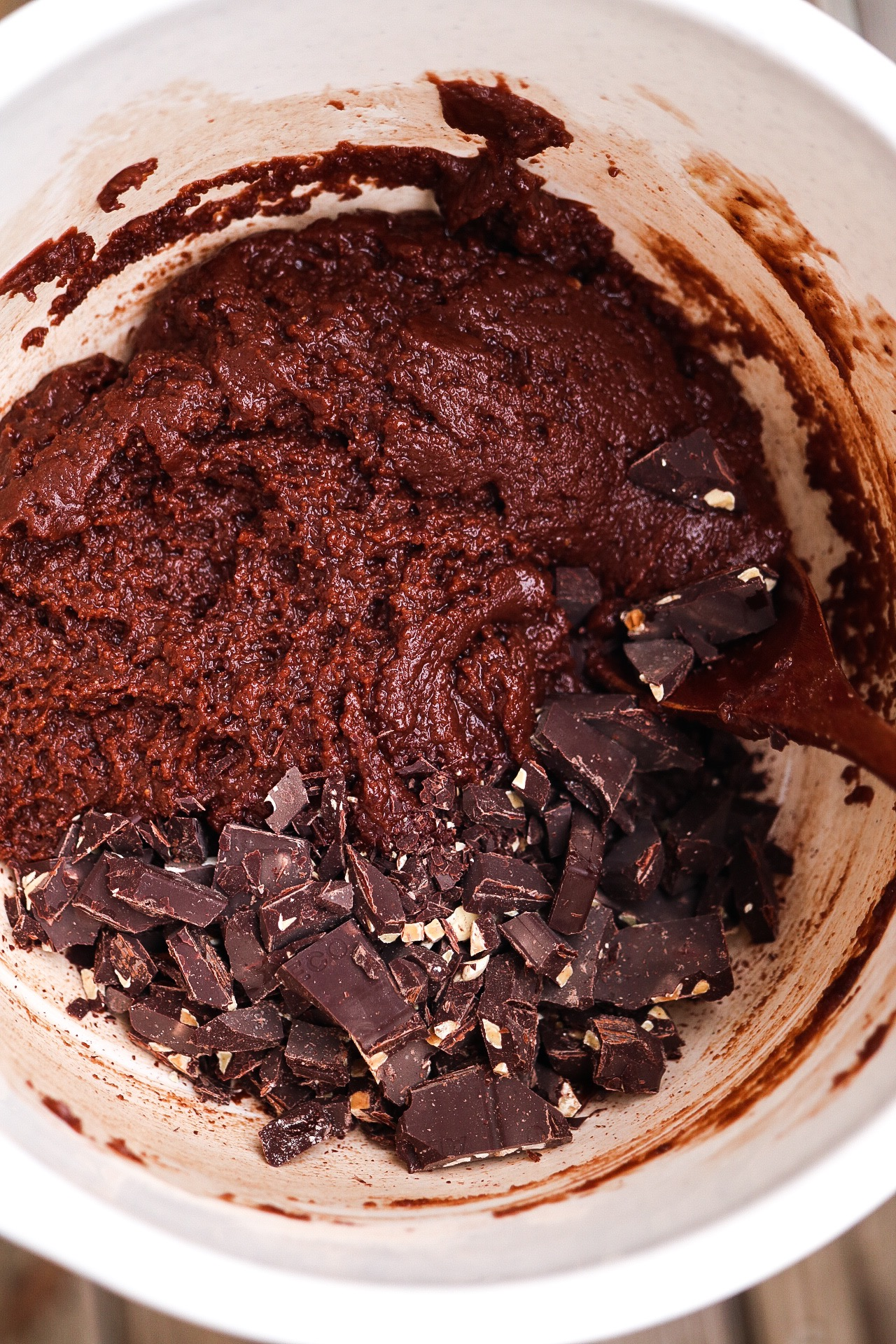Fold in your chopped dark chocolate before baking!