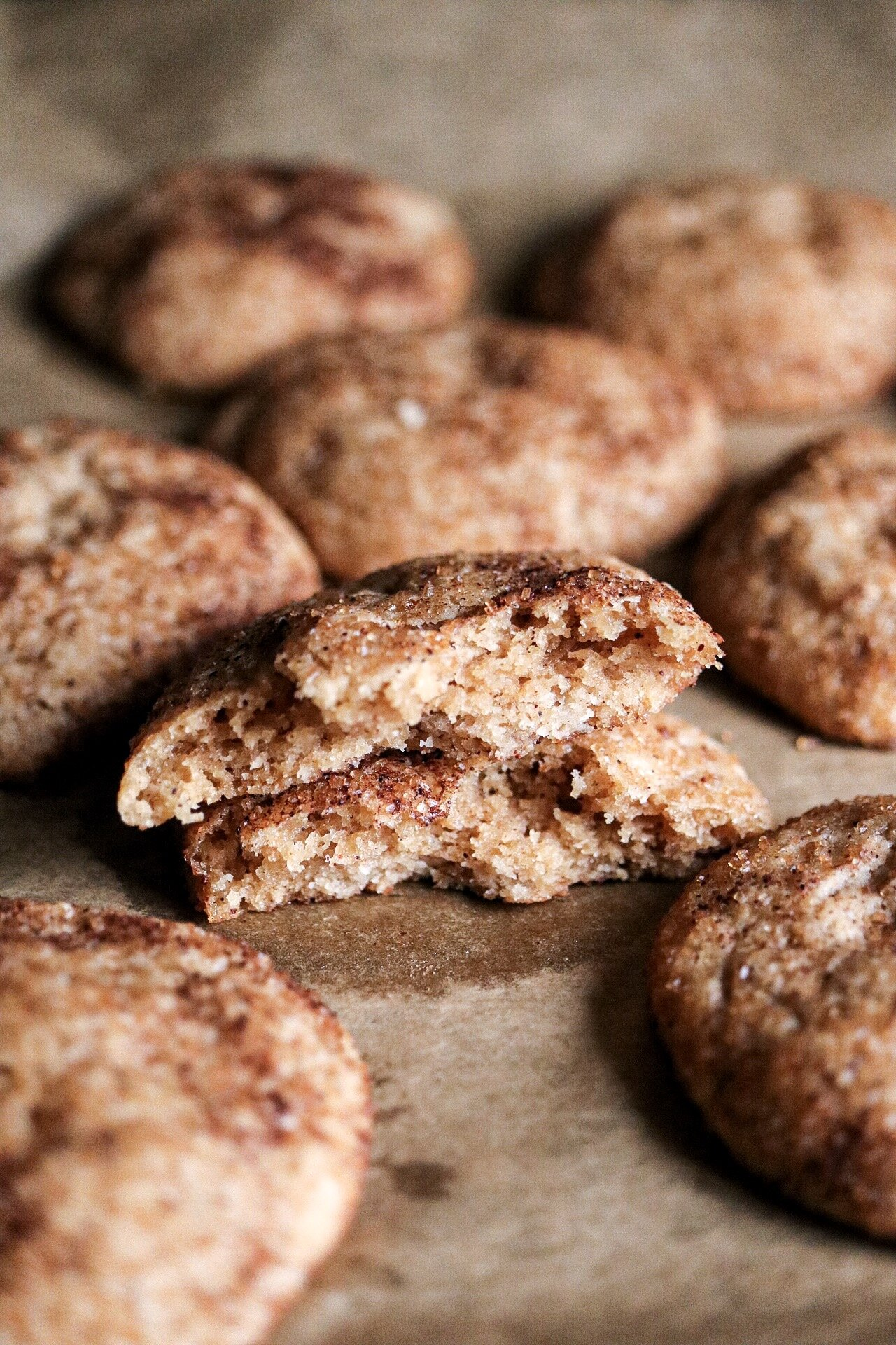 Snickerdoodle Cookies - INGREDIENTS:1 1/4 cup all purpose or spelt flour1/2 tsp baking powder1/4 tsp baking soda1/2 tsp salt1/2 tsp cinnamon 1/4 tsp nutmeg1/3 cup melted coconut oil2/3 cup brown sugar1/4 cup warm waterINSTRUCTIONS:Preheat your oven to 350F. Line a baking sheet with parchment paper and set aside. In a medium bowl, whisk together the flour, salt, baking soda, baking powder, cinnamon, and nutmeg. In another bowl, mix together the sugar, oil, and water. Combine the wet mixture to the dry. once your cookie batter is done, combine in a small bowl 1/4 cup sugar + 1 Tbsp cinnamon. Take 1 tablespoon of cookie batter, roll it in your palm, and roll it in the cinnamon-sugar mixture before placing onto your baking sheet. Do that with every cookie, and bake for about 13-15 minutes, depending on how crispy your like the edges, and allow them to cool before munching.