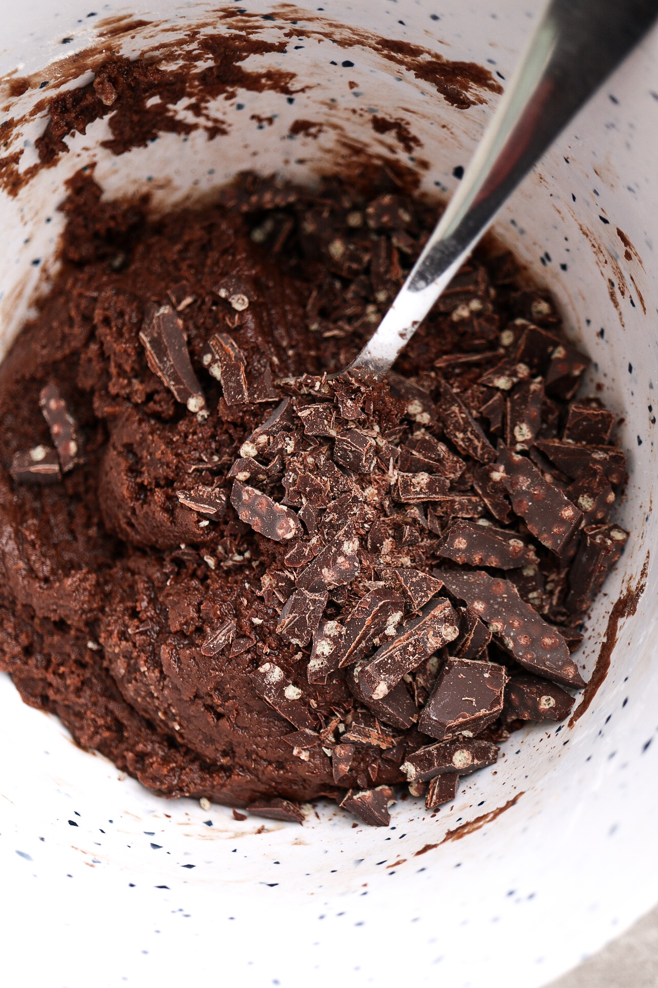 Chop up your chocolate, folding it into the batter!