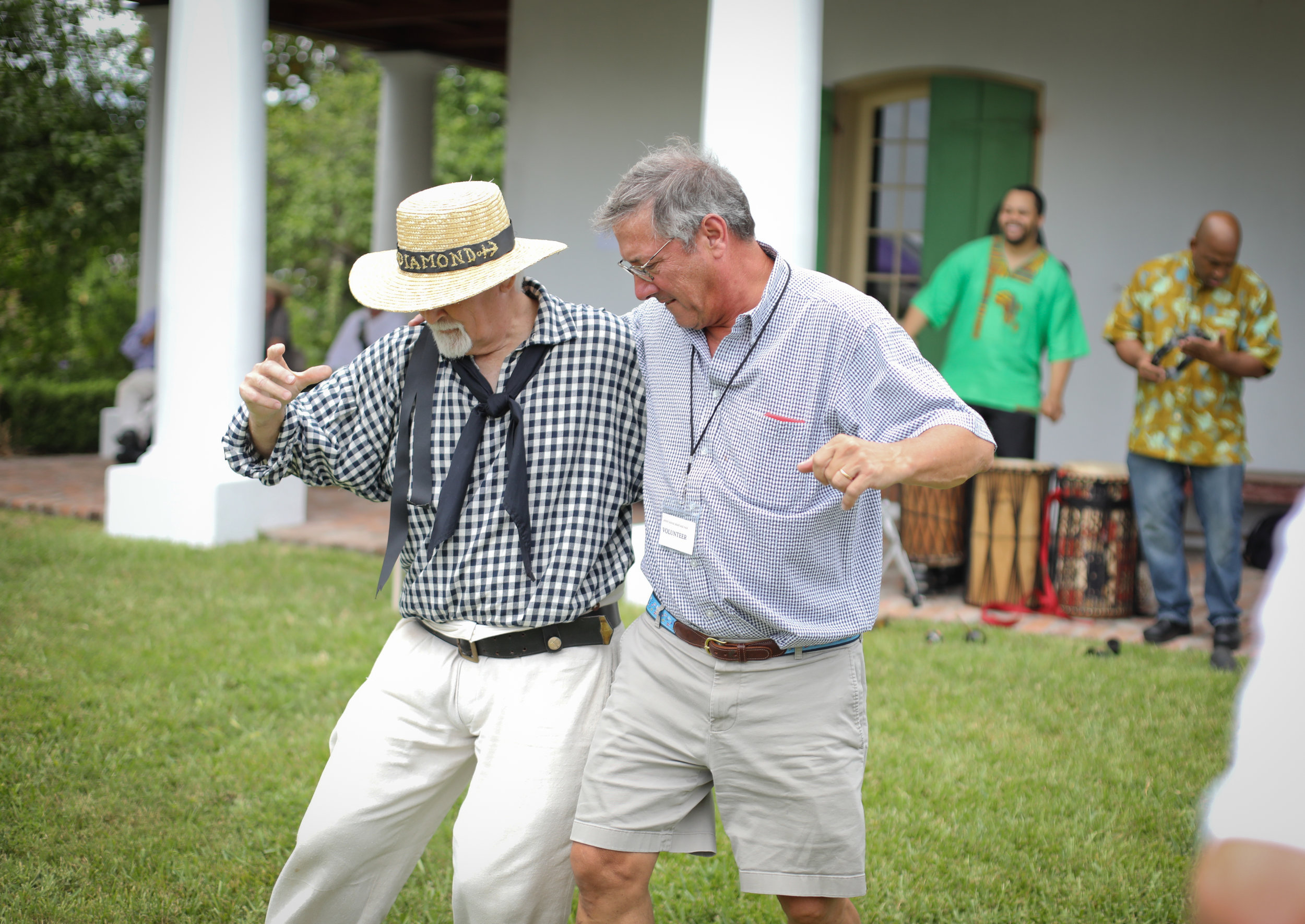 Harry Barkerding dancing with Shanty Krewe member