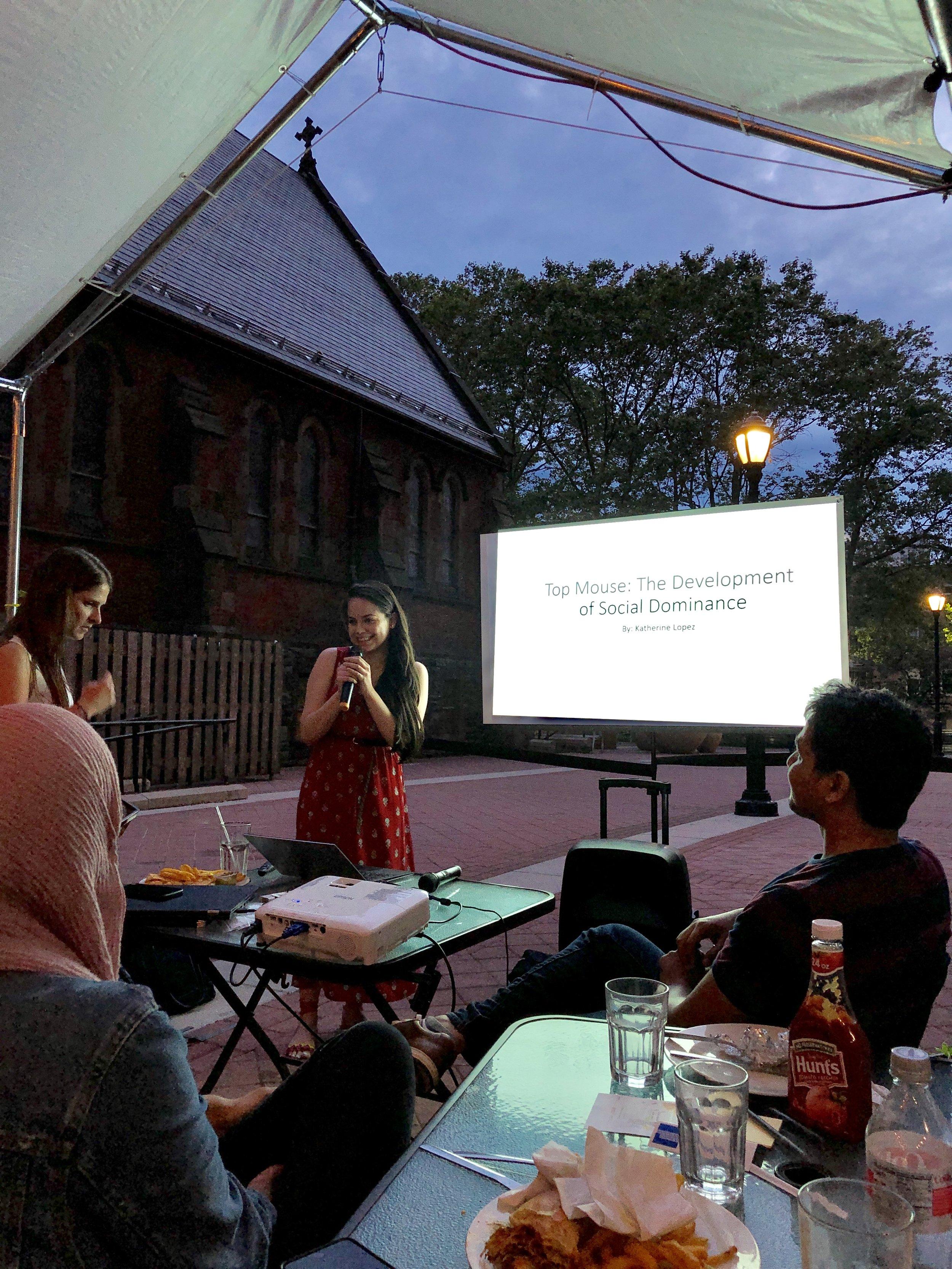 Our graduate student giving a Pub Talk! (postdoctalks.com), Summer 2019