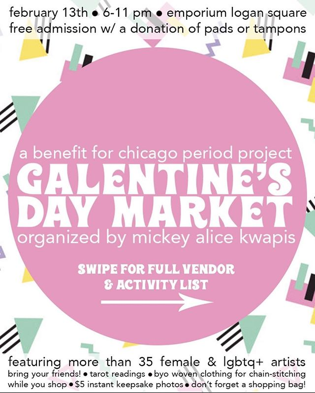 It's tomorrow!  Bring some pads and tampons for @chicagoperiodprjct ! Buy some rad stuff (swipe to see all the vendors)! Get your cards read! Drink a beer! Hang with your pals!  Sounds like a good time to me ¯\_(ツ)_/¯