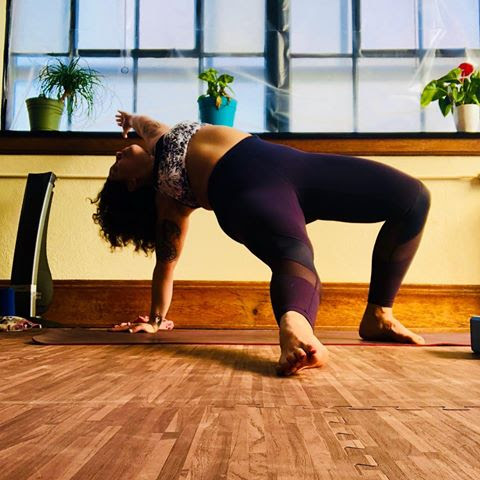 Chrissy practicing at Sacred Rebel, Ohio City Yoga