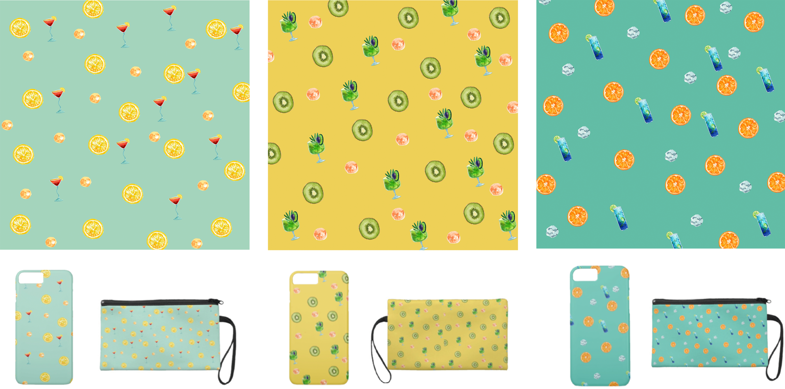 Pattern Design - • Goal: Pattern design and their real-life application• Outcome: A set of three different pattern designs with a consistent fruit and cocktail style, demonstrated on phone case and a wrist wallet