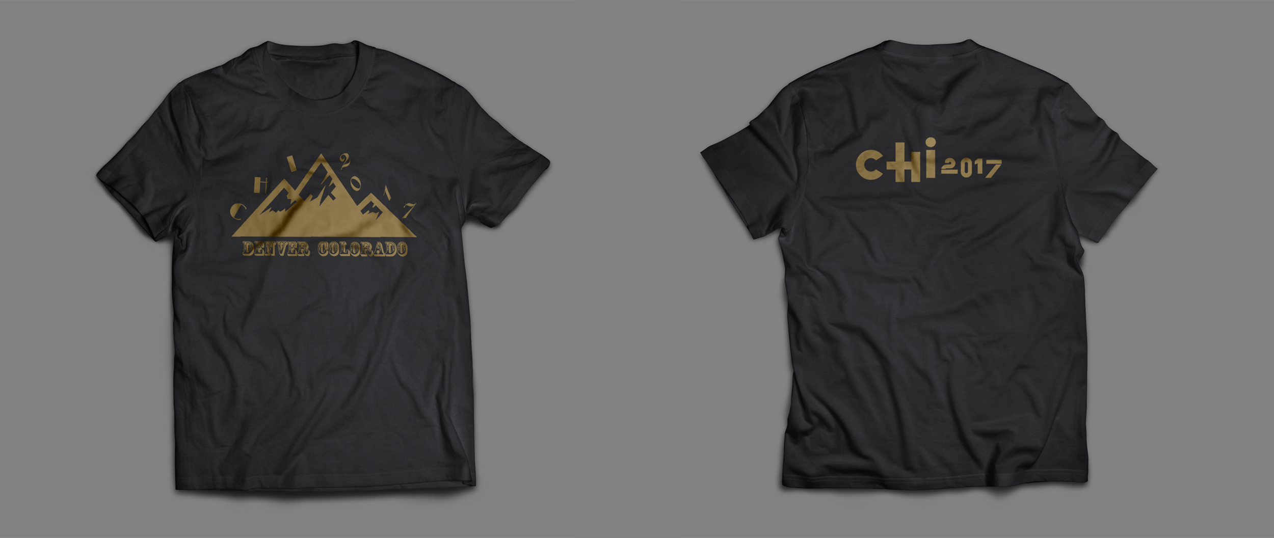 T Shirt Design - • Goal: T-shirt design for CHI 2017, Denver, CO• Outcome: Golden-Black color schema mapping with CU Boulder with the mountain indicating feature of Colorado