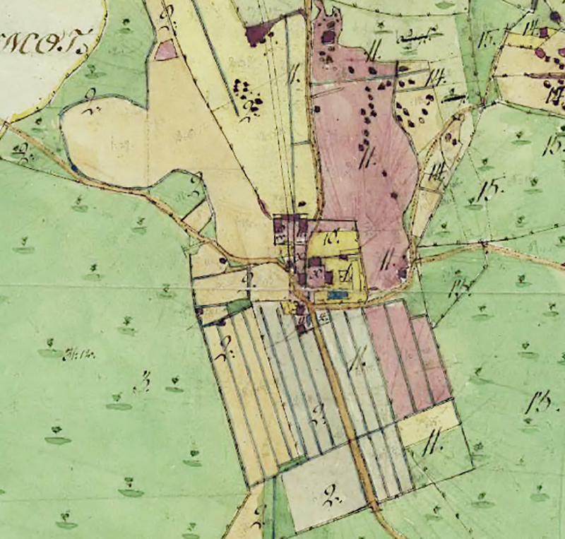 Utsnitt ur karta från 1819 efter Storskiftet.
