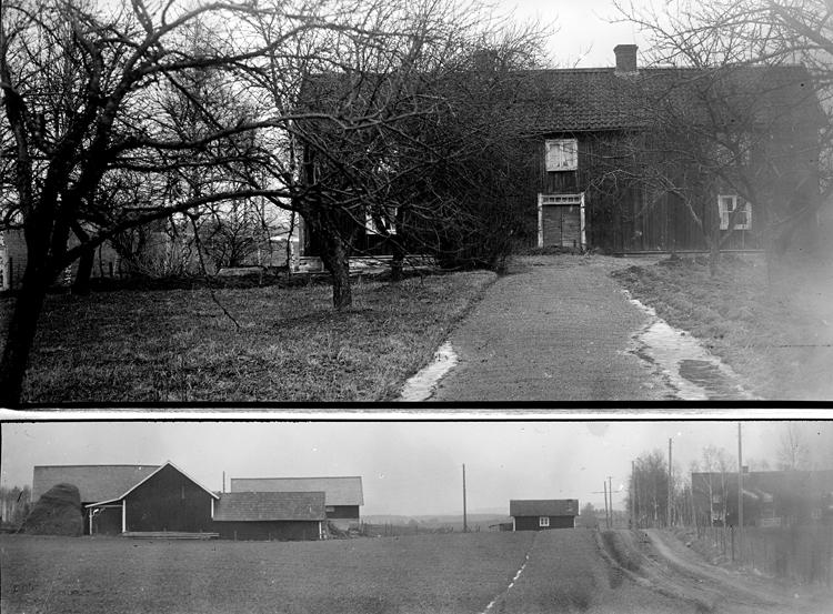 Ovan det gamla bostadshuset som revs 1945. Huset låg med gaveln mot vägen i öst-västlig riktning. När huset revs tog man ner halva huset och bodde i det medan det nya huset uppfördes. Det påstås att huset rullades från Djursätra by vid skiftet. Brogårdarna, som efter skiftet blev 3 st låg innan nedom Pärekullenvägen.
