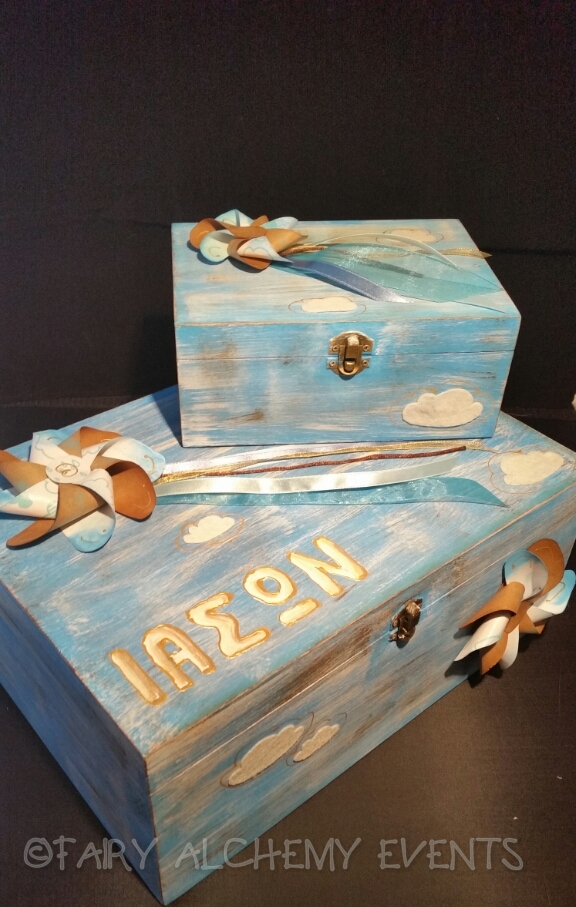 pinwheel themed baptism box
