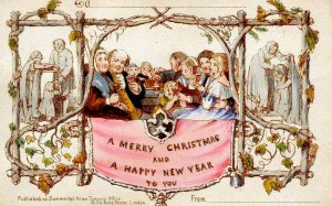 Recognized as the first Christmas card - is published in London (1843) when Sir Henry Cole hires artist John Calcott Horsley to design a holiday card for his friends.*