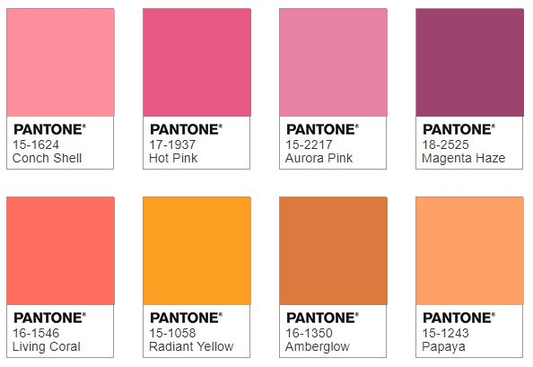 Pantone SHIMMERING SUNSET color combination