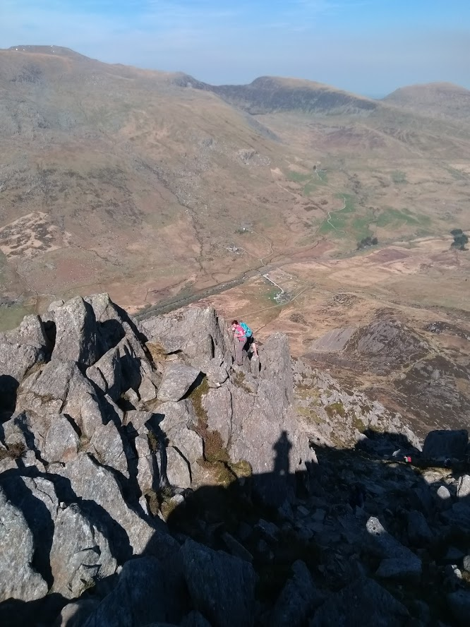 Lisa scrambling on Tryfan