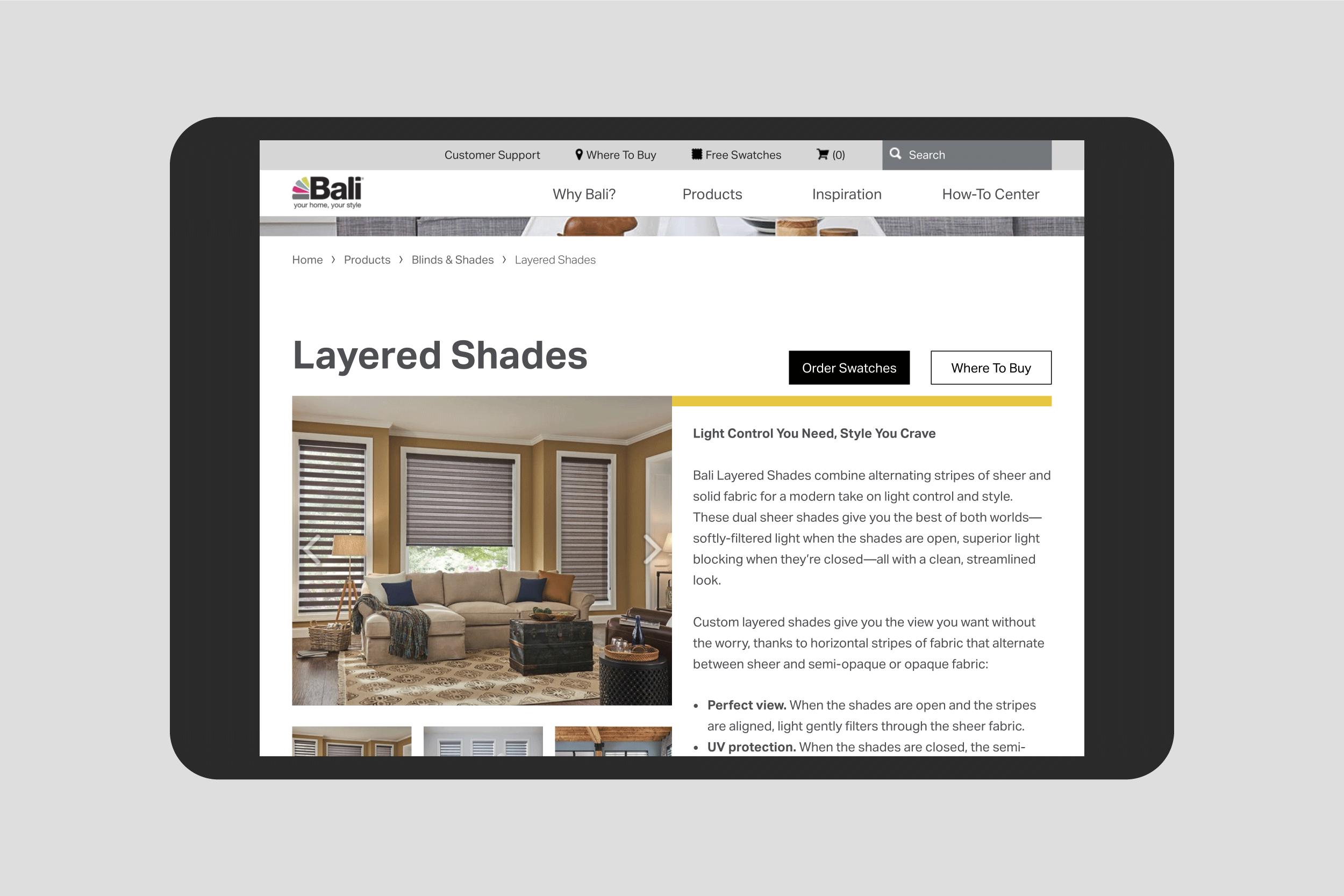 Baliblinds.com Layered Shades product page