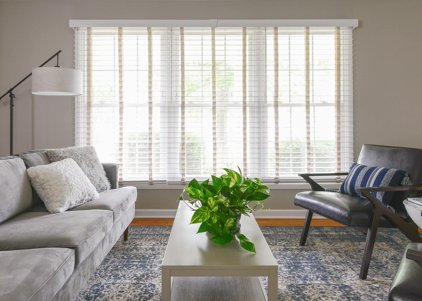 Bali Wood Blinds installed in a living room