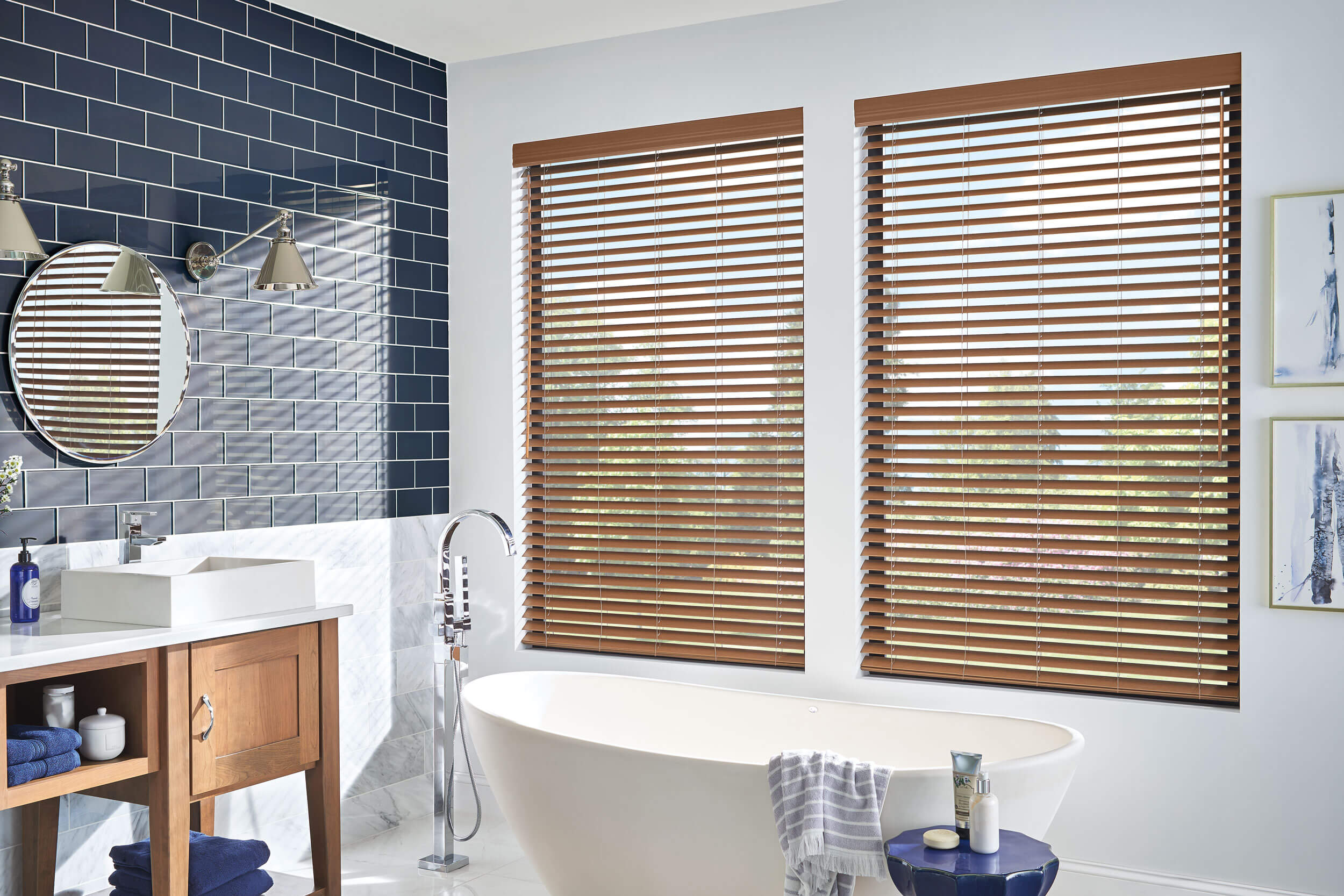 Bali Faux Wood Blinds installed in a bright bathroom