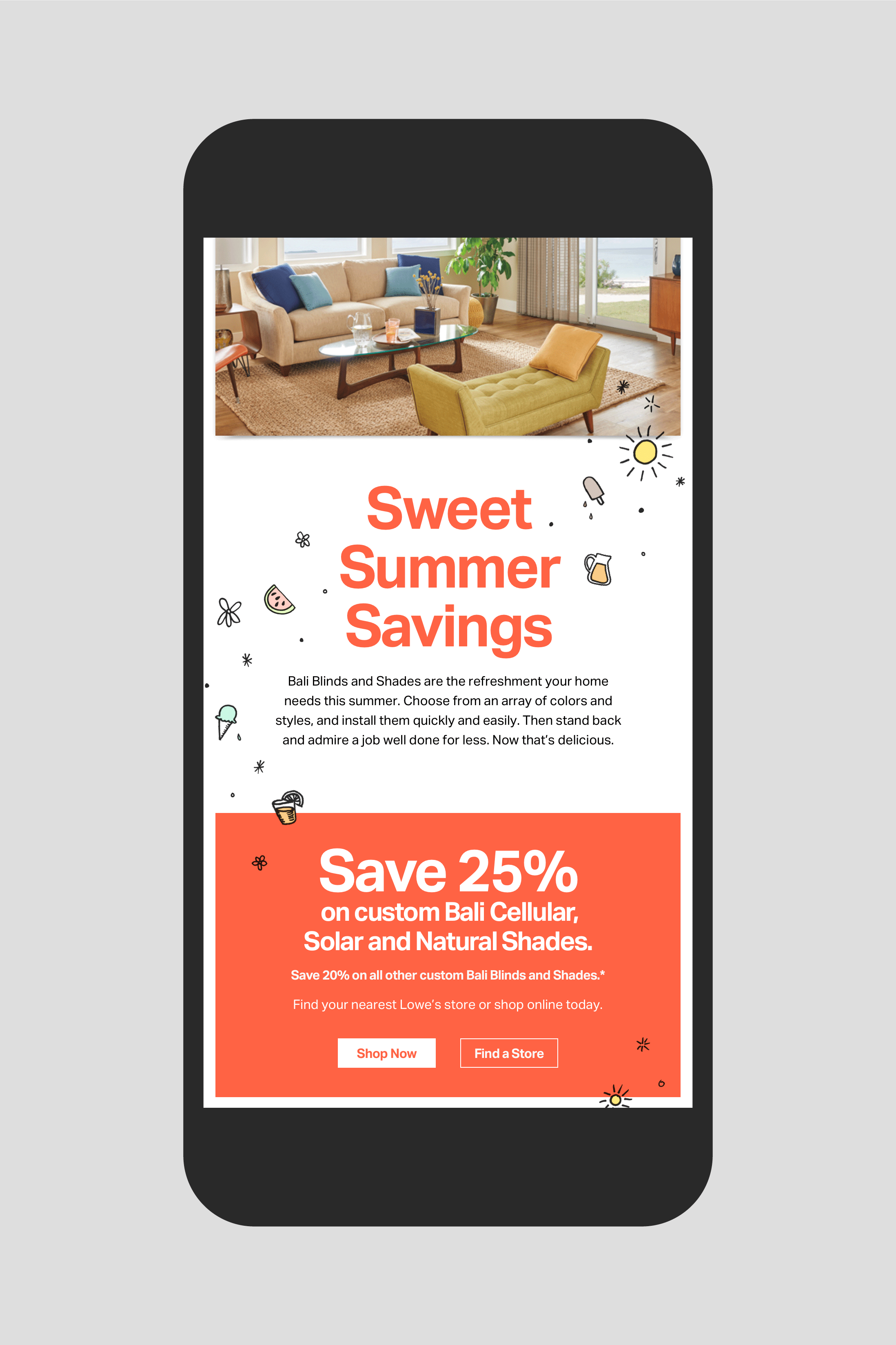 Bali Lowes promotional email: Sweet Summer Savings