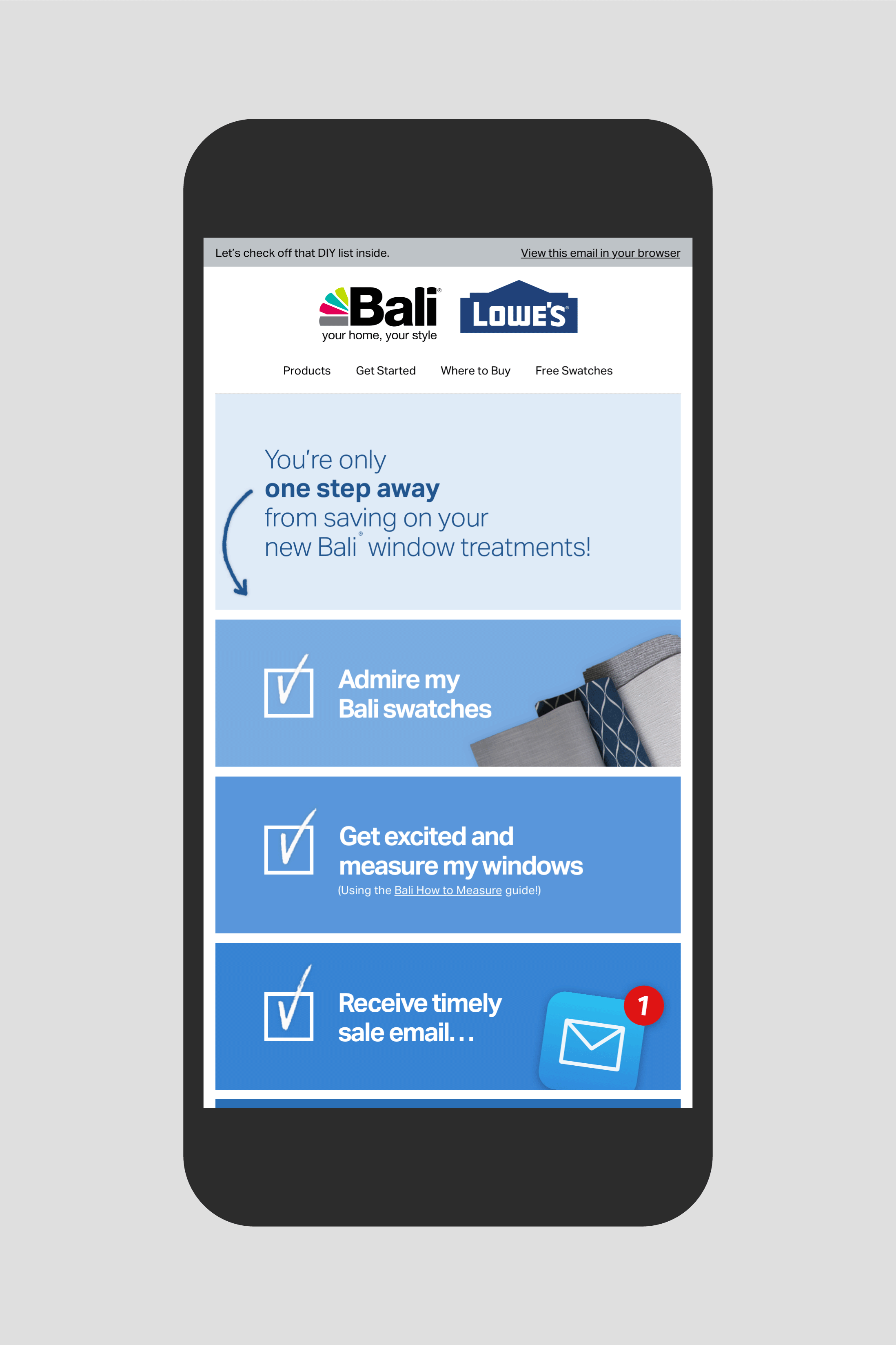 Bali Lowes promotional email: One Step from Savings