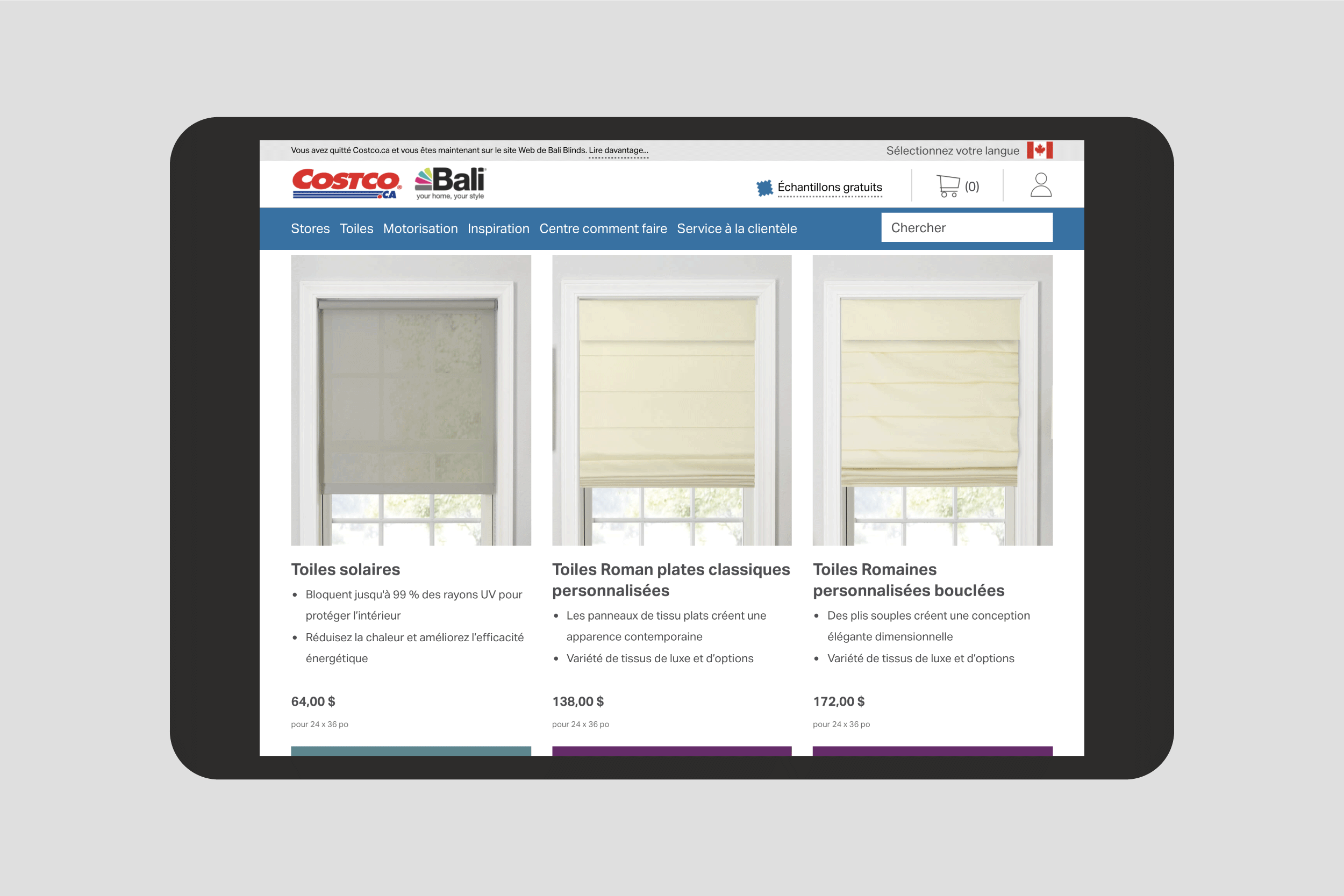 Shades landing page on the Costco Bali microsite