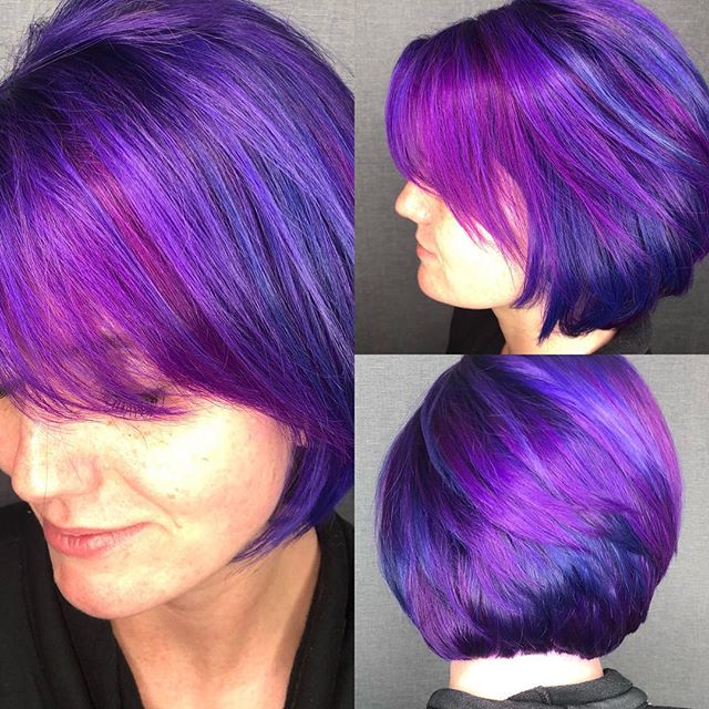 Breaking my streak of no posts for the last months with this beauty! I literally am blessed to be able to LOVEEEE my job!!!! God is so good to me ! More photos on their way !!! #schwagerstylez #galaxy #purplehair #pinkhair #bobs #hairfantasy #HisGlory #modernsalon #btc #coloradospringsstylist #behindthechair