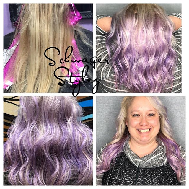 I'm in love 😍 and we danced to Elvis 💜 #schwagerstylez #coloradospringsstylist #purplehair #purplebalayage #lightpurple #lilac #handpaintedhair #icyblonde #thisiswhatlovelookslike #inlove #friends #funtimes