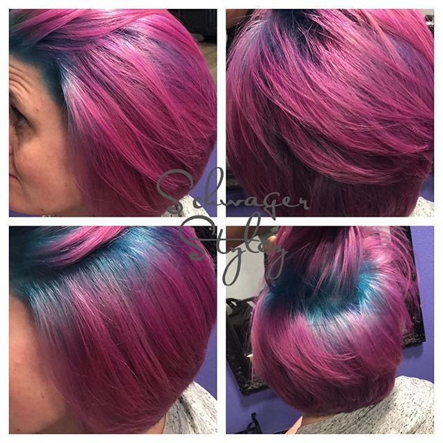 Ummmmm yesssss!!!! Back at it! Love fun colors. Cotton candy or 🦄 whatever you want #pinkandblue #bob #shadowroot #fashioncolor #joicocolorintensity #blended #kellieschwager #schwagerstylez #lovemyjob #nevergetsold #prettyhairdontcare #bluehairdontcare #pinkhaircolor