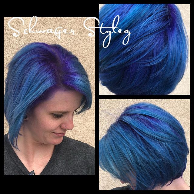 New hair for a new season yasss girl ! #schwagerstylez #purpleandteal #alittletrueblue #joico #pravana #coloradospringsstylists #colormelt #purplerootage #fashioncolors #vivids