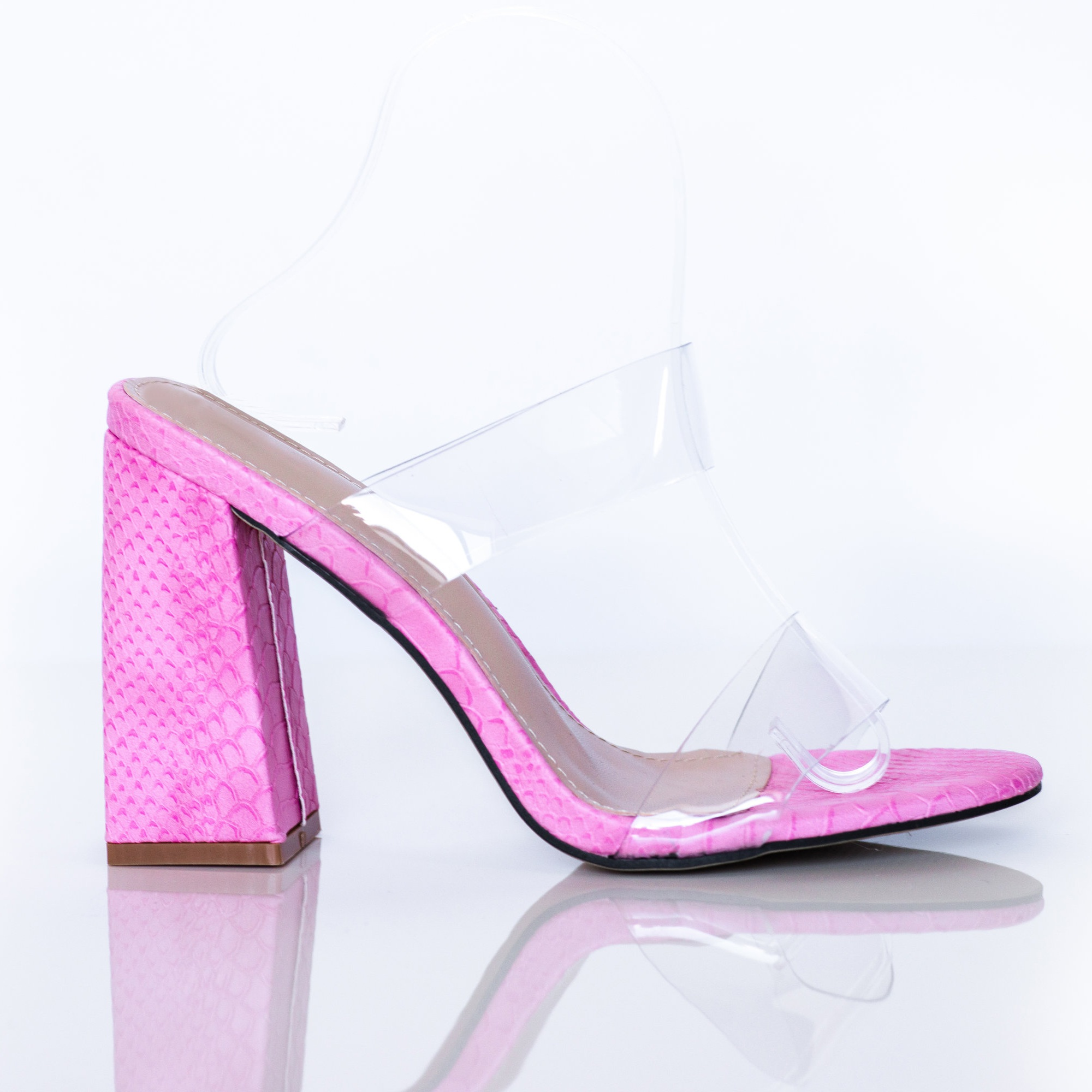 """FETCH - The Ultimate Mean Girl Mule…An Ode to ReginaShop our latest summer addition, FETCH! This pink textured mule is the perfect way to say """"you can't sit with us…or me"""". A block heel for comfort and perspex straps for styling flexibility. You can never go wrong with a little pop of pink.GET IN LOSER WE'RE GOING SHOPPING!"""