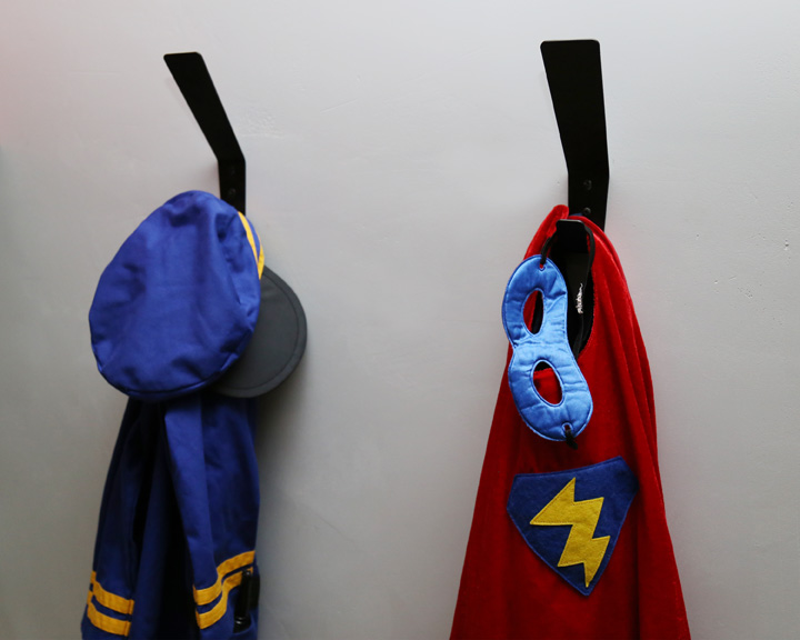 Costumes are popular in our house and these hooks make it so easy for the boys to hang up their gear when they are done saving the day.