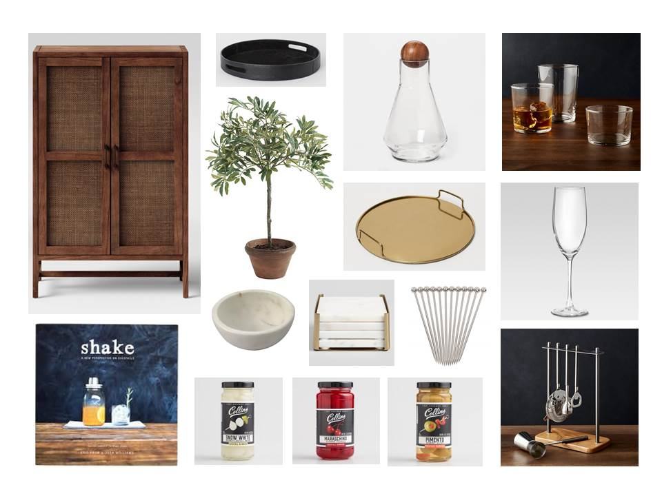 cabinet ,  leather tray ,  decanter ,  tumblers ,  gold tray ,  glasses ,  dip bowl ,  coasters ,  picks ,  book ,  onions ,  cherries ,  olives ,  tool set