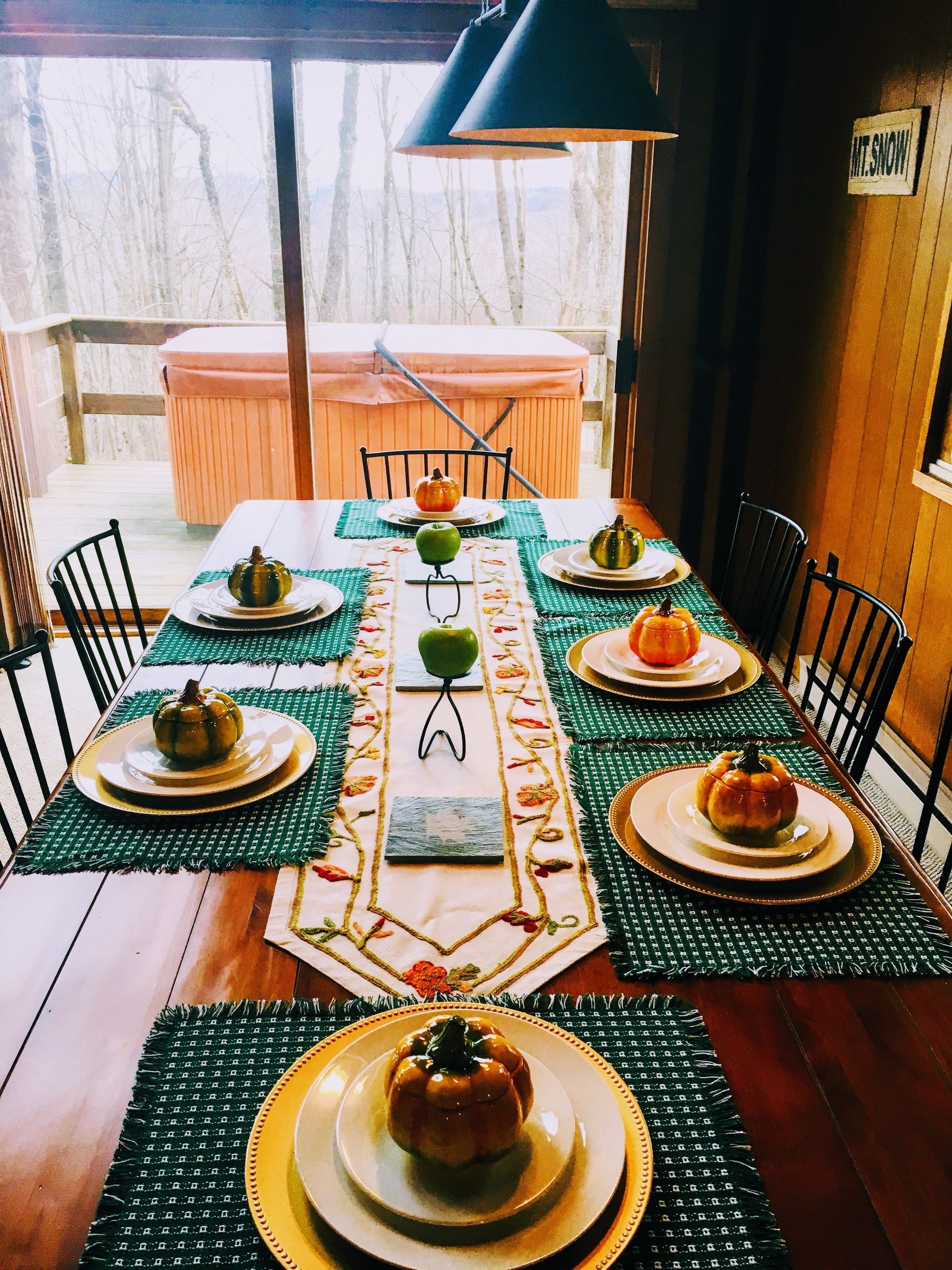 Dining table, set for a fall dinner for 7 (seats 8)