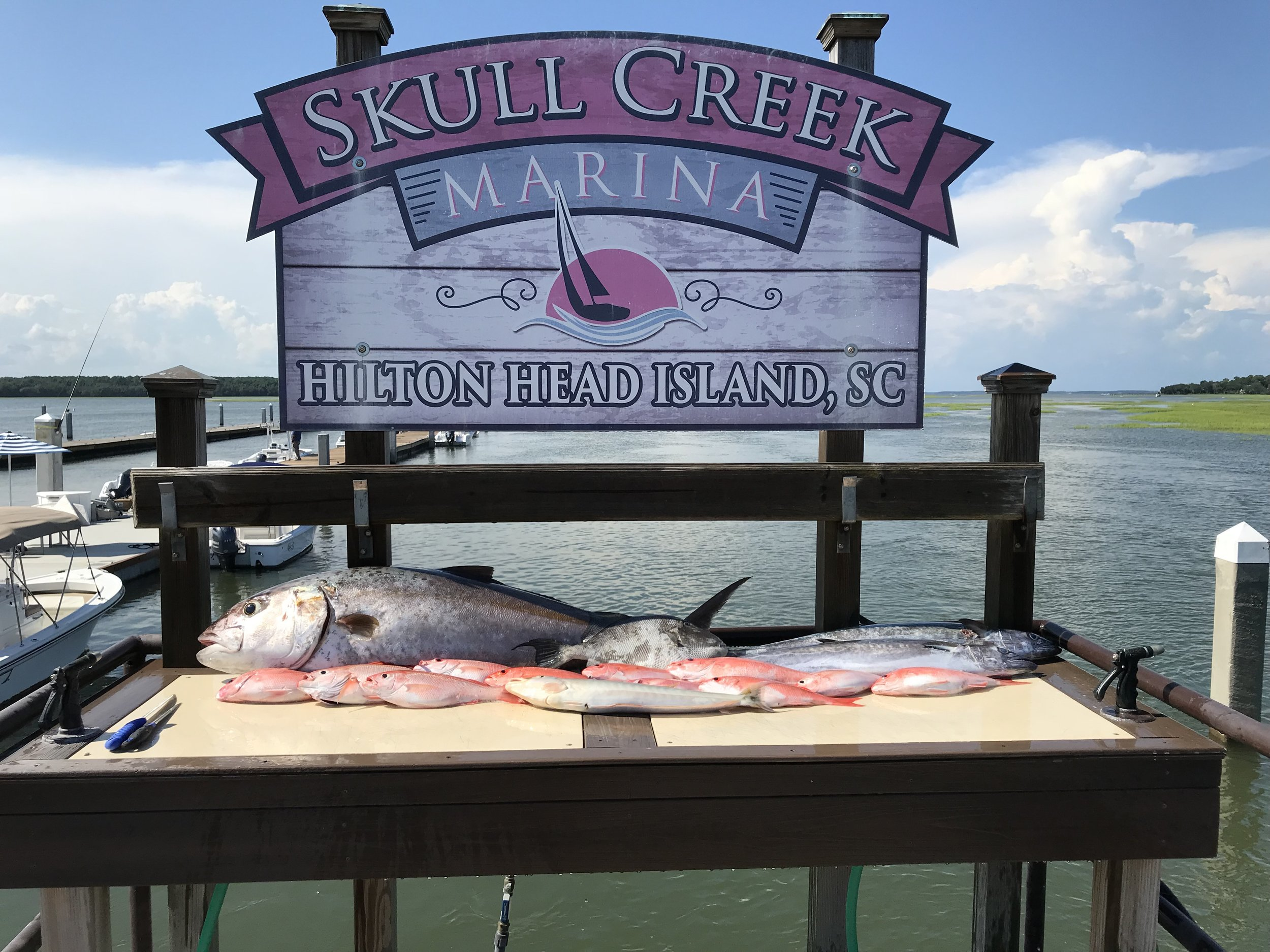 "Where to Meet - Skull Creek Marina is located on Hilton Head Plantation, a gate access community. I will call in a Plantation Security pass for you! Since the marina is located closest to the fishing grounds, your tour spends more time fishing rather than traveling through ""No Wake Zones""."