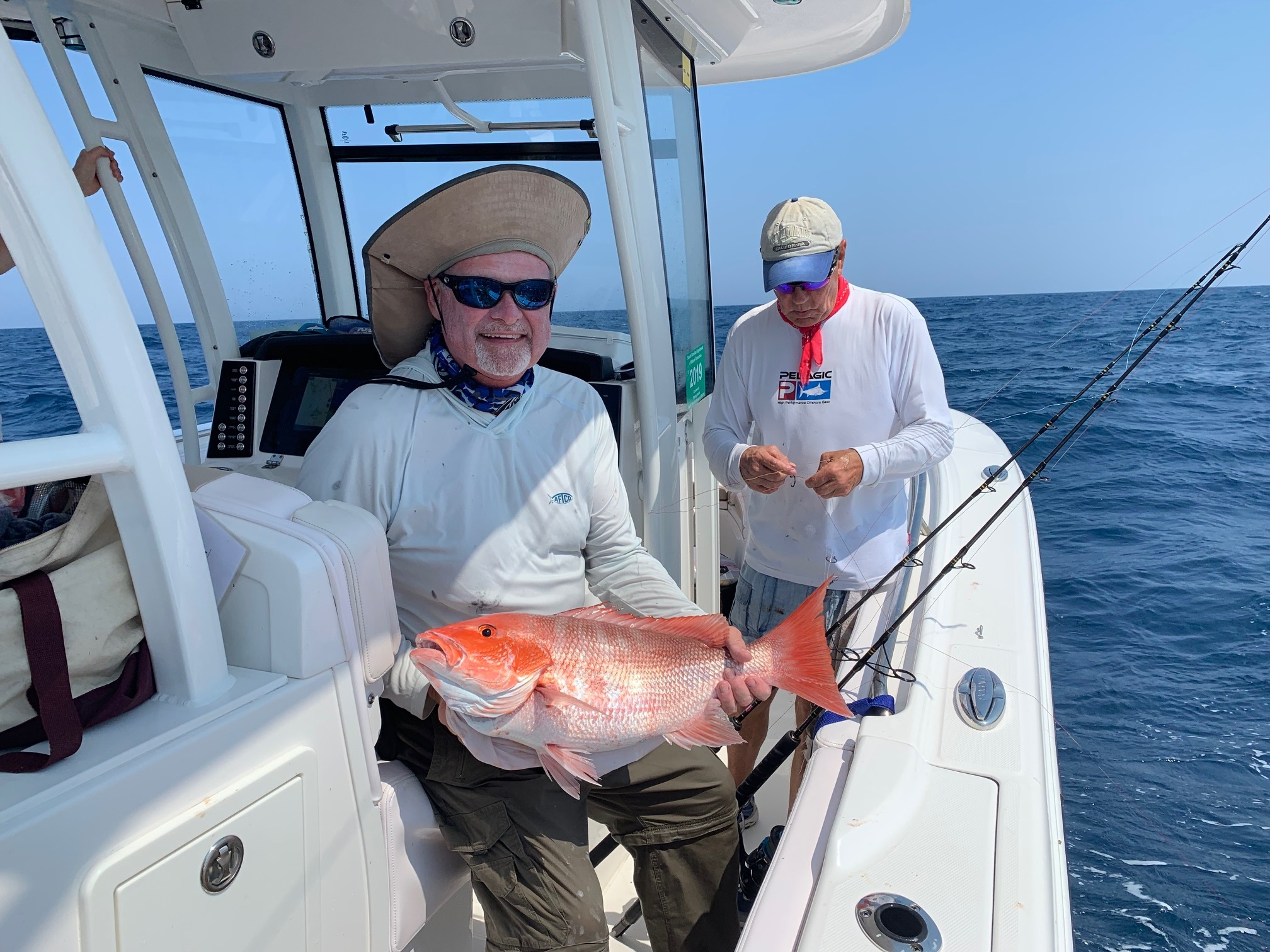 Rick rested after fighting this Red Snapper 80 miles out!