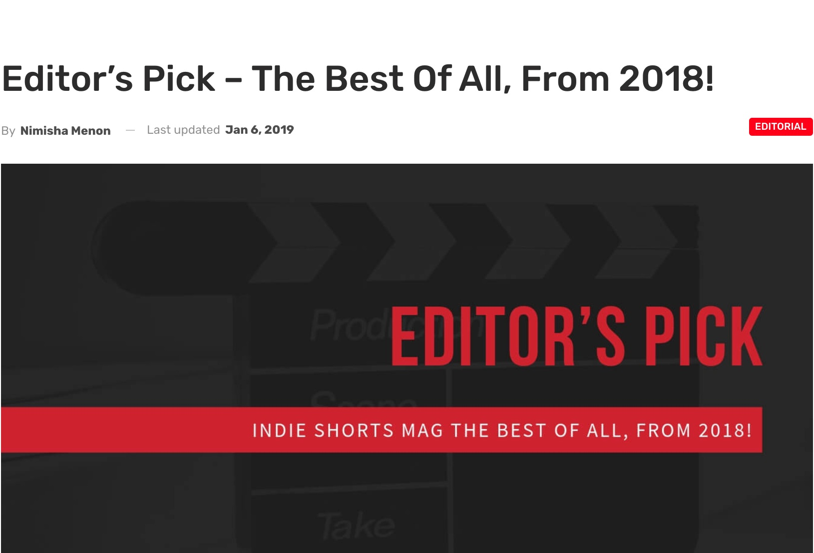 """""""The editor's pick this year singularly, unabashedly falls for Stella Velon's The Critic, worth every minute of the short! - Of all the films of 2018, we had some unique entries and never-seen-before shorts, but, perhaps, the best of it all had to be The Critic, for its sheer content and consistency with regards to performance and execution from all quarters. Stella Velon's The Critic, a poignant, insightful look into the soul of an actress, with the measured performance of Velon is a 14:55 minutes long film that gently peels off the veneer of glamour. """""""