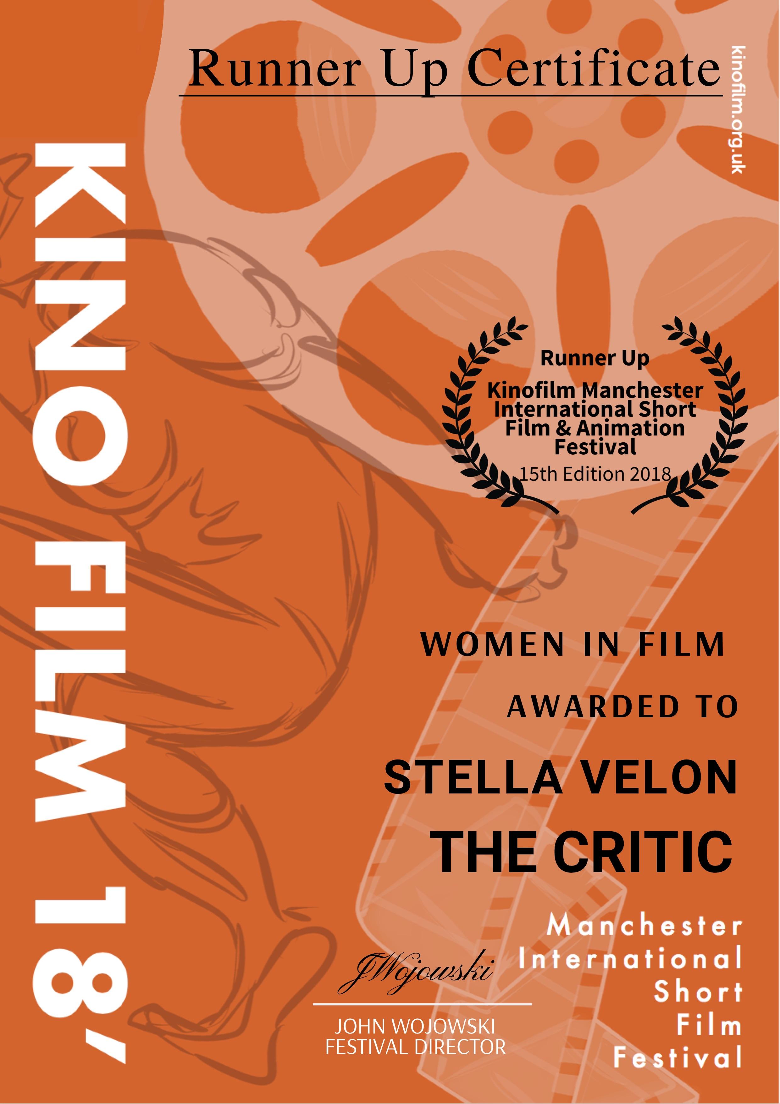 KINO Award Runner Up Certificate - Women in Film.jpg