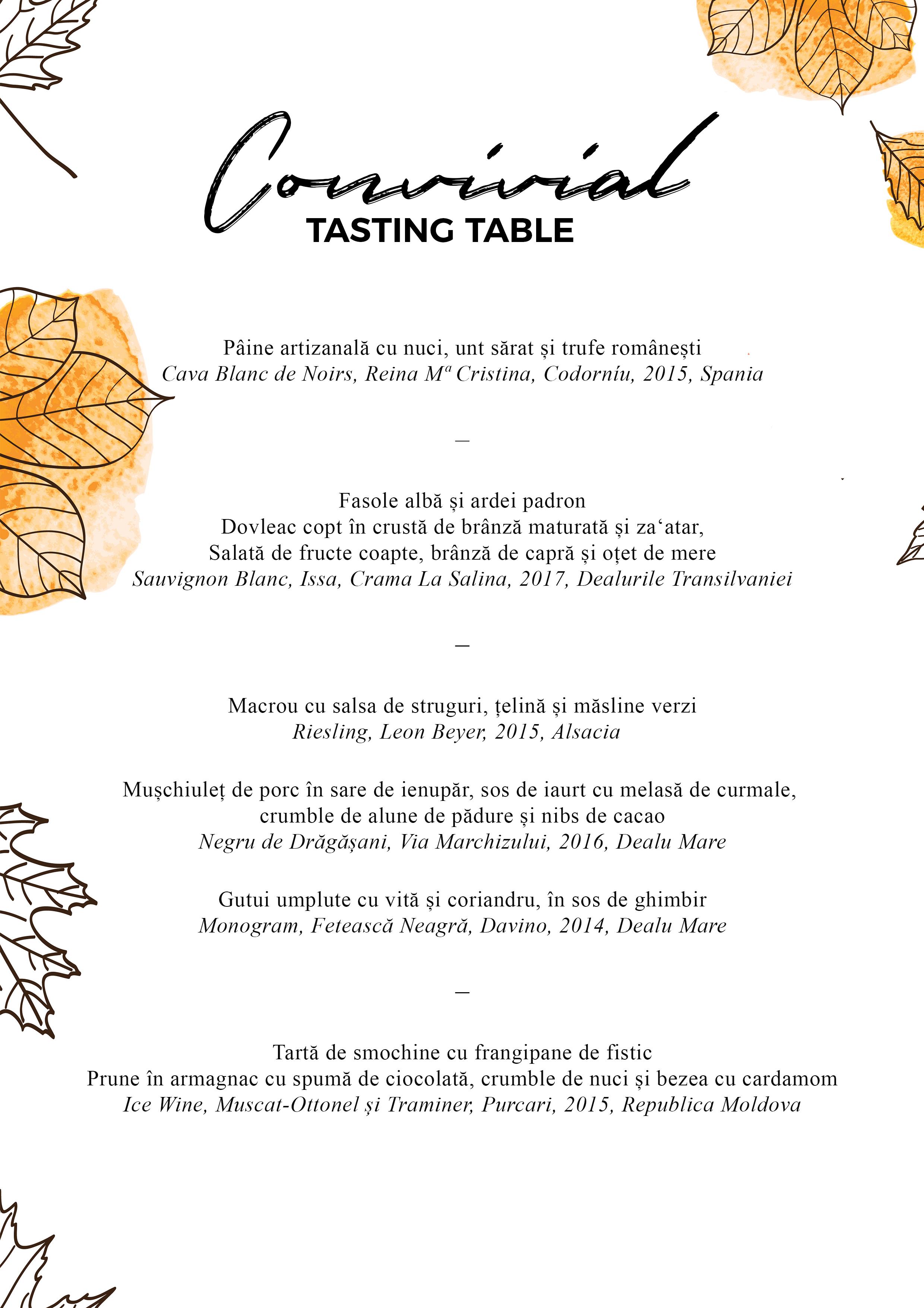 - Prima cină Convivial de toamnă la Mazilique Studio adună o serie din ingredientele de care ne bucurăm cel mai mult în acest sezon: trufe proaspete, struguri tămâioși, gutui condimentate, dovleac copt, prune aromate.Pe 19 octombrie le vom pune în valoare printr-un meniu la care am potrivit și o selecție de vinuri pentru a ne completa experiența._Fee: 330 lei19 octombrie, ora 19:30Locurile sunt limitate, iar confirmarea se face în ordinea înscrierilor.Pentru întrebări și rezervări: studio@mazilique.ro / 0742802044