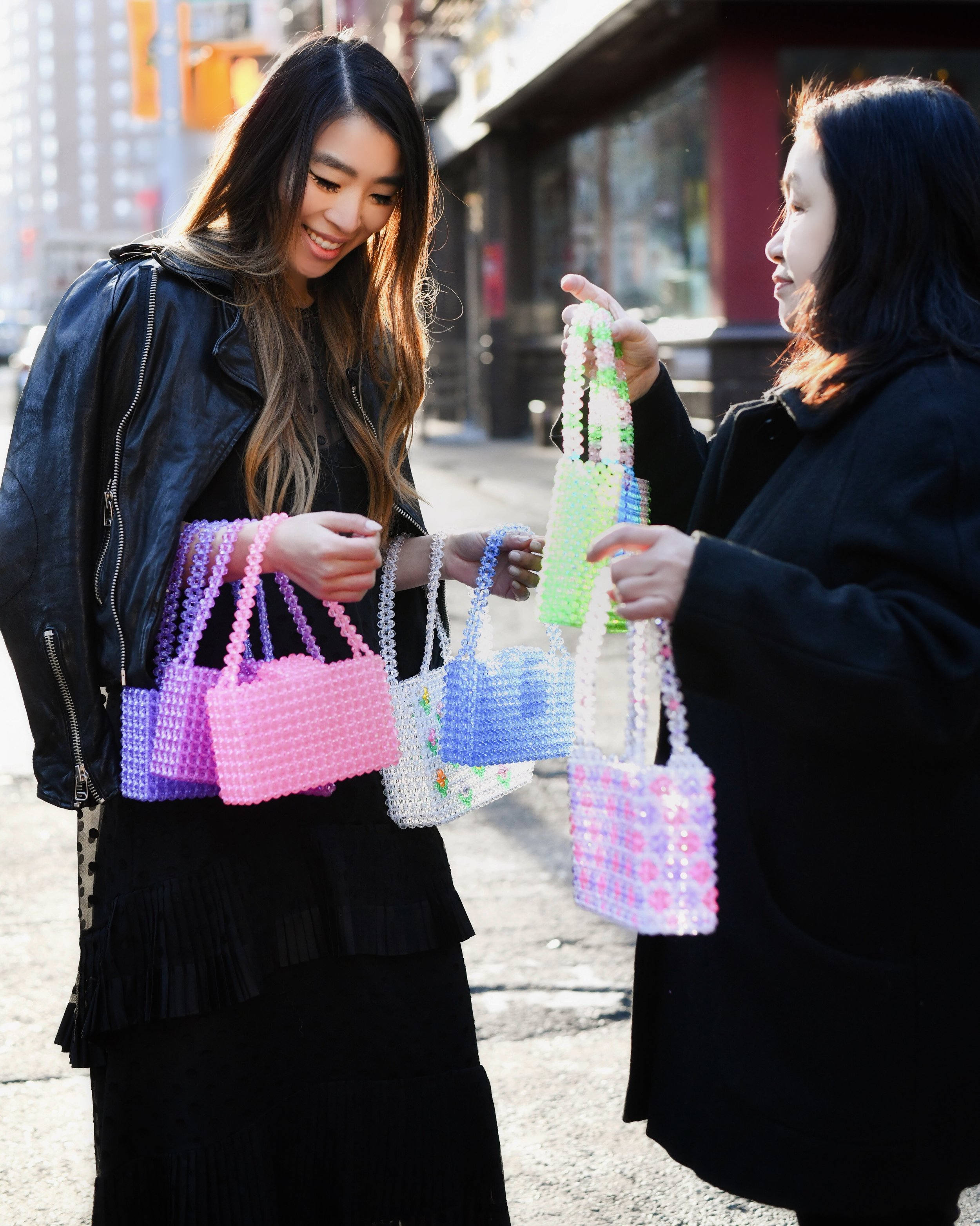 Susanna Chow with Mama Chow, who inspired Susanna to create this brand, handcraft each bag in New York City. Photo by Carly Tumen.