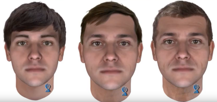 Images of the likely appearance of Christy's killer at ages 25, 45 and 55, produced by Parabon NanoLabs using DNA phenotyping.