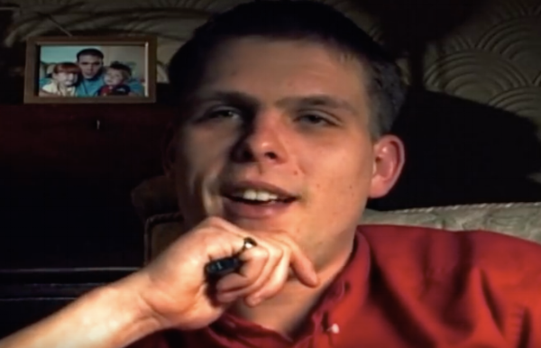 Mitchell being interviewed by journalists about Lynsey's disappearance.
