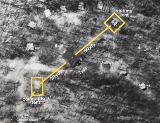 Layout of tents at Kiowa unit. (Source: http://www.girlscoutmurders.com/CAMP_MAPS.html)