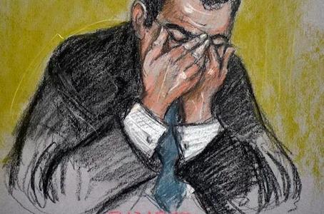 Court artist sketch of Tabak