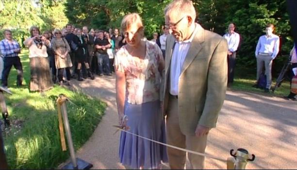 Teresa and David opening Joanna's memorial garden (source: ITV)