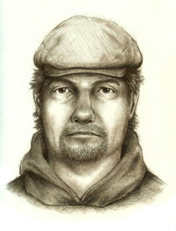 The sketch released by police of the man on the bridge