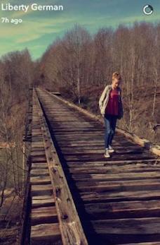 Libby's snapchat of Abby on the bridge