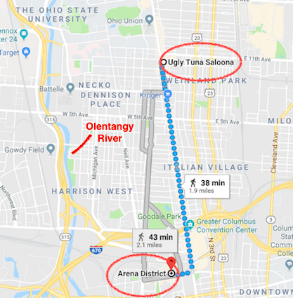 Map of the area where Brian and Clint went bar-hopping that night. The search for Brian would later include the Olentangy River, which runs adjacent to High Street.