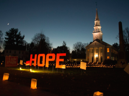 "Photo from the annual ""Cheshire's Lights of Hope"" event (source ABC News)"