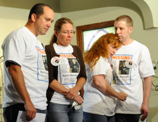 Tony Young, Desiree Young, Terri Horman and Kaine Horman at the first press conference on June 11 (source: The Oregonian)
