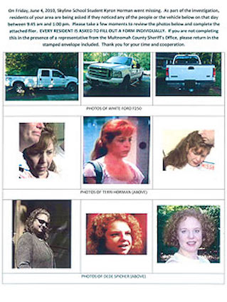The flier featuring photos of Terri's truck, Terri and DeDe Spicher handed out at the August 11 press conference (source: people.com)