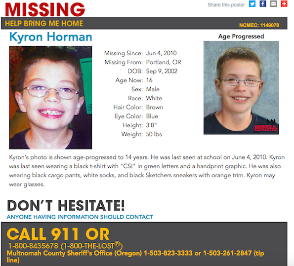 Kyron's National Centre for Missing and Exploited Children poster with age progressed photo (14 years old) (source: NCMEC)