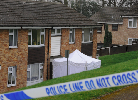 Donovan's Lidgate Gardens flat with the forensics tent set up outside (source: The Telegraph)