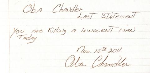 Рукописное заявление Чендлера перед казнью (источник: Tampa Bay Times)