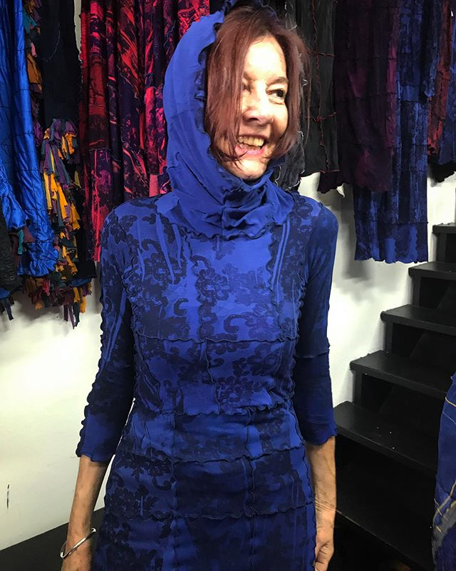 Another great snapshot from our Open studio this weekend with jewellery designer @suzannenairne #blueberry #dress #textiles #craft #design #vancouver #designer #designerfriends #artists #community #fashion #zerowaste #wastetextiles #wastehosiery #canada